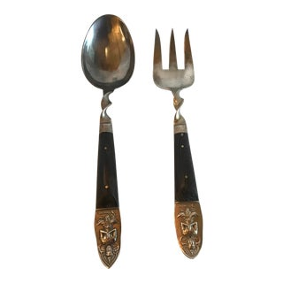 Vintage Brass and Rosewood Serving Set For Sale