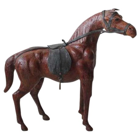 1950's Vintage Large Hand Made Leather Horse Figurine For Sale