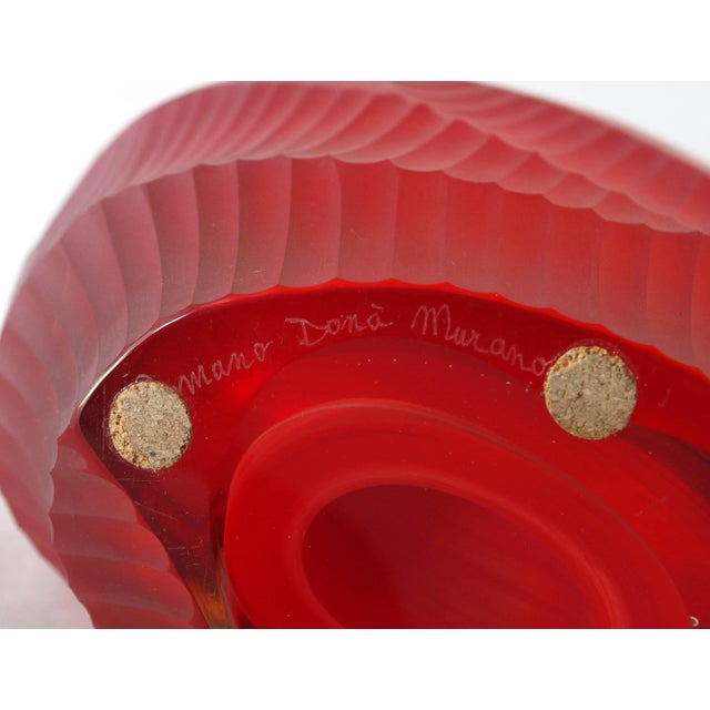 Etching Red Murano Glass Vase Sculpture by Romano Dona' For Sale - Image 7 of 8
