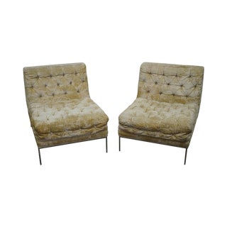 Milo Baughman Mid-Century Tufted Slipper Chairs - A Pair For Sale