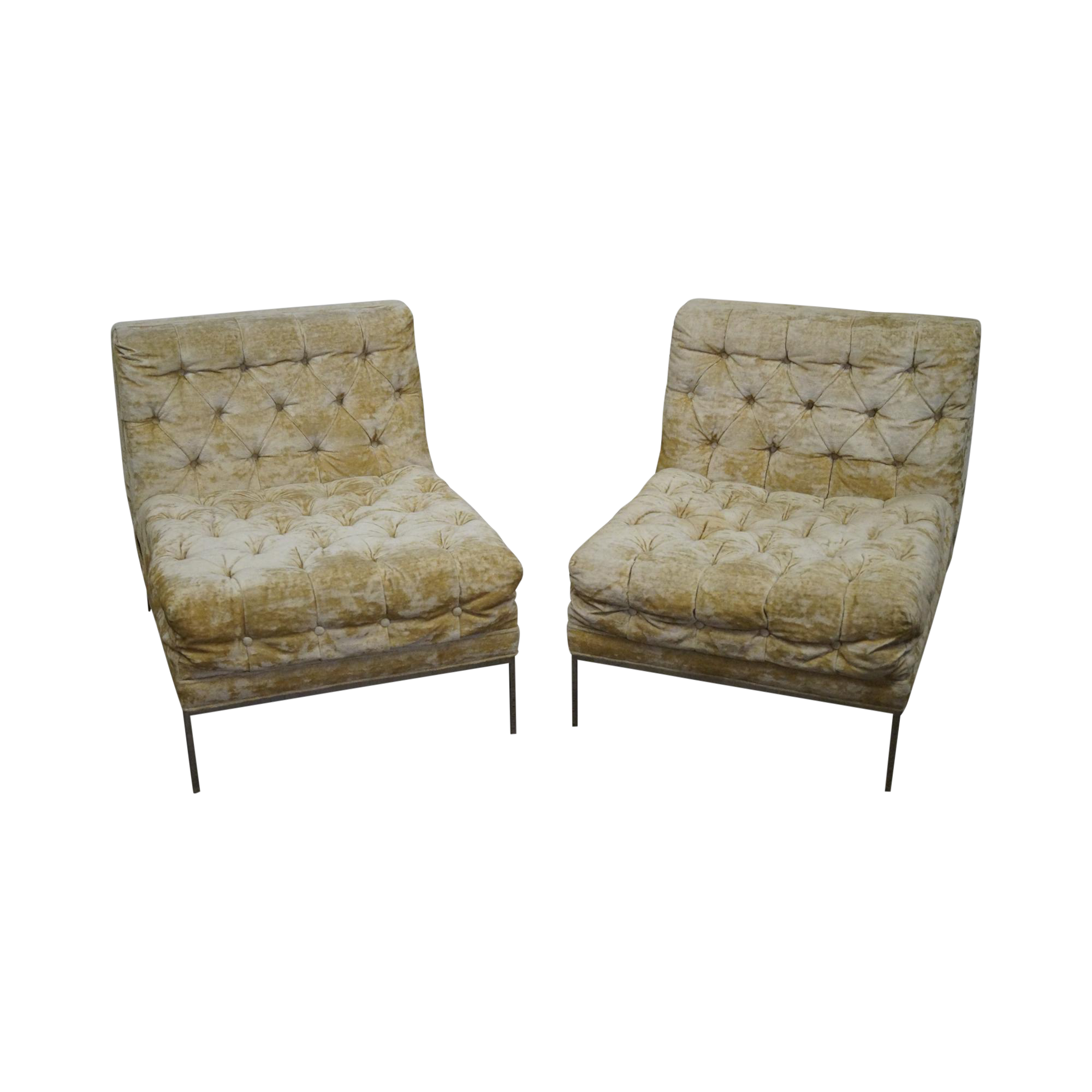 Milo Baughman Mid Century Tufted Slipper Chairs   A Pair