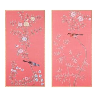"Jardins en Fleur Out of Production ""Luton House"" Chinoiserie Hand-Painted Silk Diptych by Simon Paul Scott – 2 Pieces For Sale"
