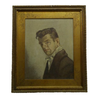 """""""Early Self Portrait"""" Signed Original Framed Painting on Board by Frederick McDuff"""