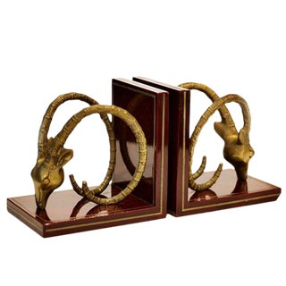 Mid-Century Brass Ram Head Bookends - A Pair