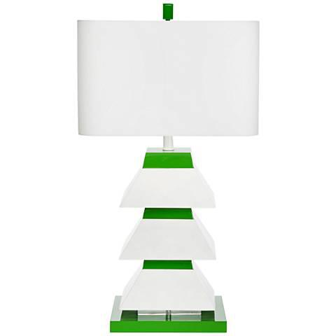 Abstract Couture Lamps Erzi Pagoda Lamp, Kelly Green For Sale - Image 3 of 3