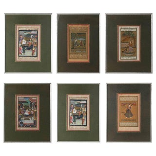 Set of Six Indian Miniature Framed Paintings, 19th Century For Sale
