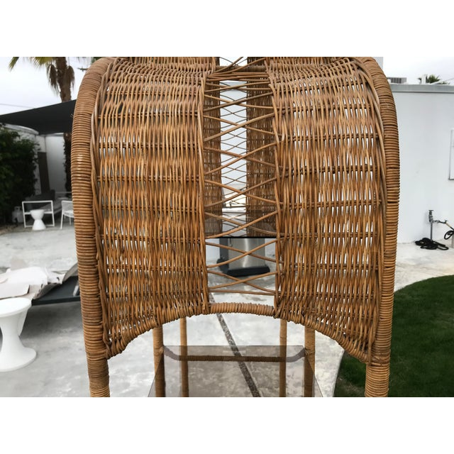 1970s Boho Chic Double Arch Rattan and Glass Shelf Etagere For Sale In Palm Springs - Image 6 of 10