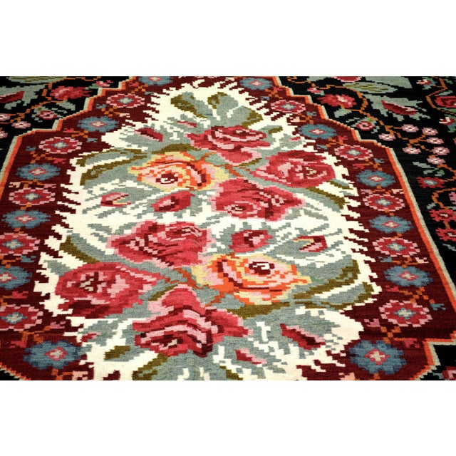 """Shabby Chic Vintage Balkan Bessarabian Hand Made Organic Wool Natural Color Floral Kilim,6'5""""x10'2"""" For Sale - Image 3 of 5"""