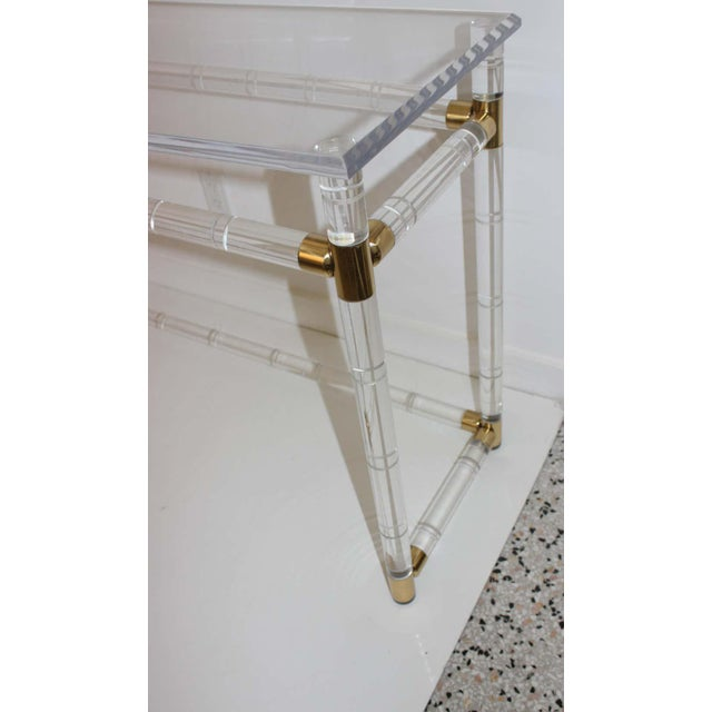 Transparent Lucite and Brass Console Table by Charles Hollis Jones For Sale - Image 8 of 13