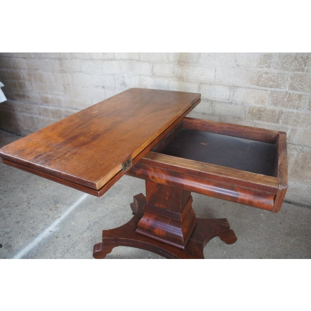 Mid 18th Century Antique American Empire Flame Mahogany Swivel Game Console Table For Sale - Image 5 of 13
