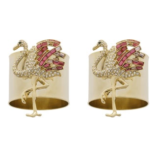 Flamingo Napkin Rings, Set of Two For Sale