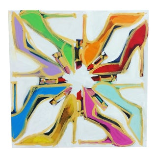 Pop Art Embellished Canvas Print of Shoe Circle For Sale