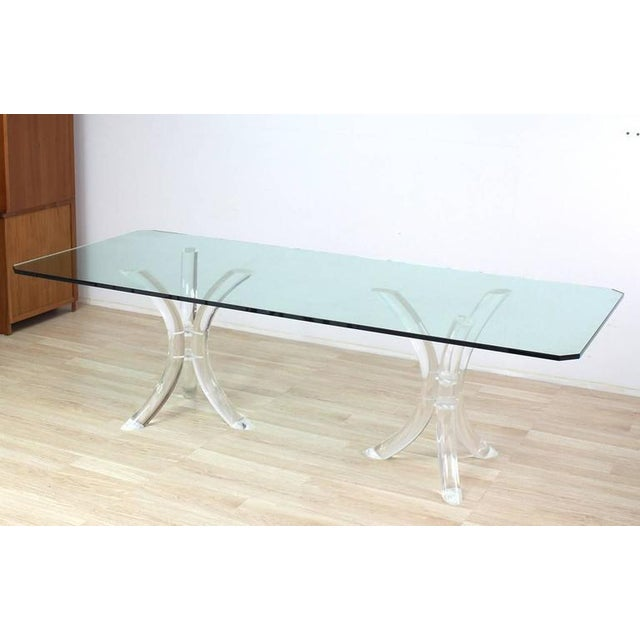 Mid-Century Modern Large Glass Top Conference Table on Lucite Tusks Bases For Sale - Image 3 of 7