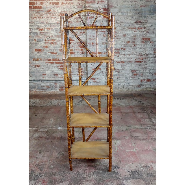 Traditional 19th Century Original Victorian 5 Tier Bamboo Bookstand For Sale - Image 3 of 9