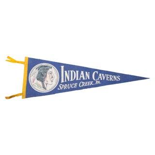 Vintage Indian Caverns Felt Flag For Sale
