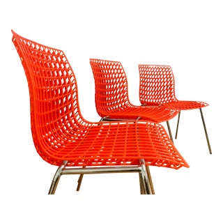 Vintage Mod Stacking Orange Molded Plastic Patio Dining Side Chairs For Sale
