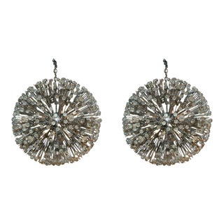Large Austrian Star Burst Chandeliers - a Pair For Sale