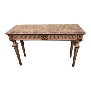 Traditional William Switzer Designer Marble Top Console Table For Sale