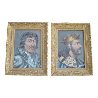 Spaniard Conquistador & King Late 13th Century Oil Paintings - A Pair For Sale