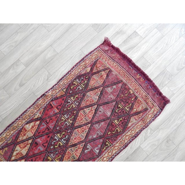 1970s Masterwork Hand-Woven Rug Braided Small Kilim 1′6″ × 2′12″ For Sale - Image 5 of 8