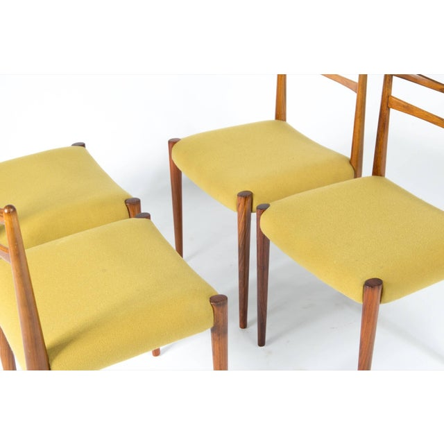 1960s Yellow Fabric Rosewood Danish Modern Chairs- Set of 4 For Sale - Image 4 of 12