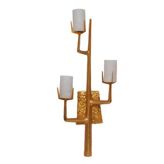 Pair French Agostini Style Solid Bronze & 24kt Gold Dore Organic Tree Branch Wall Sconce Preview