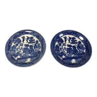 Vintage Blue Willow Pattern Plates Saucers, Marked Japan - a Pair For Sale