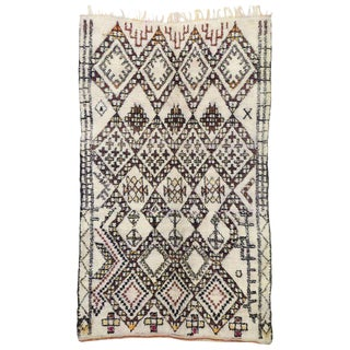 Vintage Moroccan Beni Ourain Rug - 5′9″ × 9′5″ For Sale