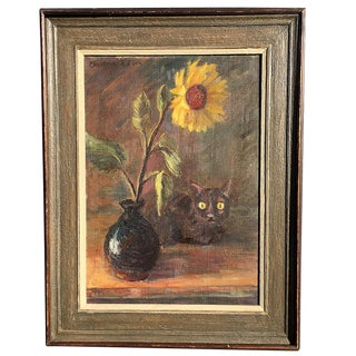 1950s Vintage Still Life & Cat Oil Painting on Canvas by Christina Edson For Sale