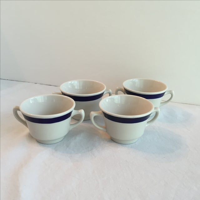 Traditional White & Blue Bouillon Soup Bowls - Set of 4 For Sale - Image 3 of 11
