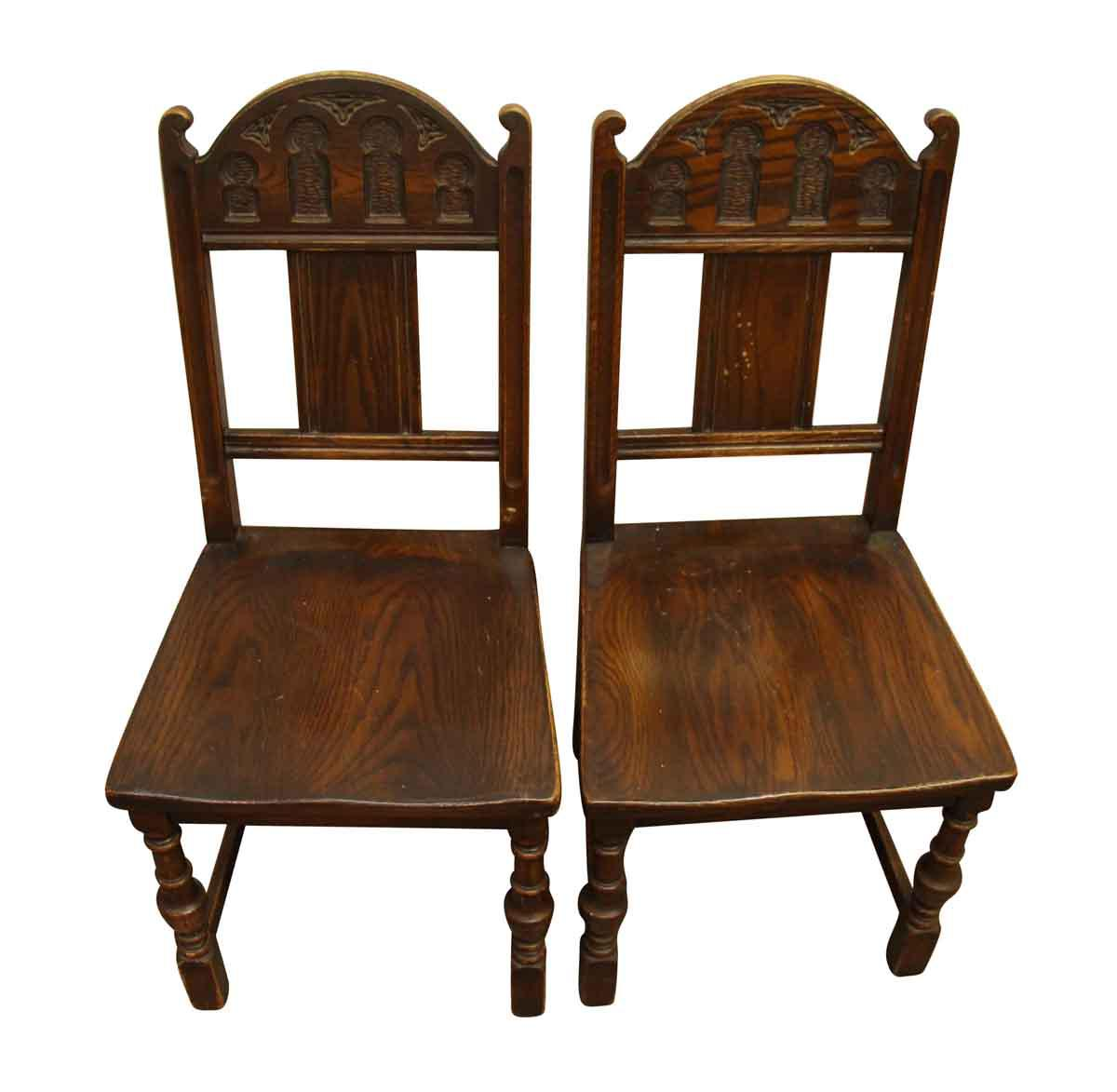 Gothic Wooden Chairs   A Pair   Image 2 Of 10