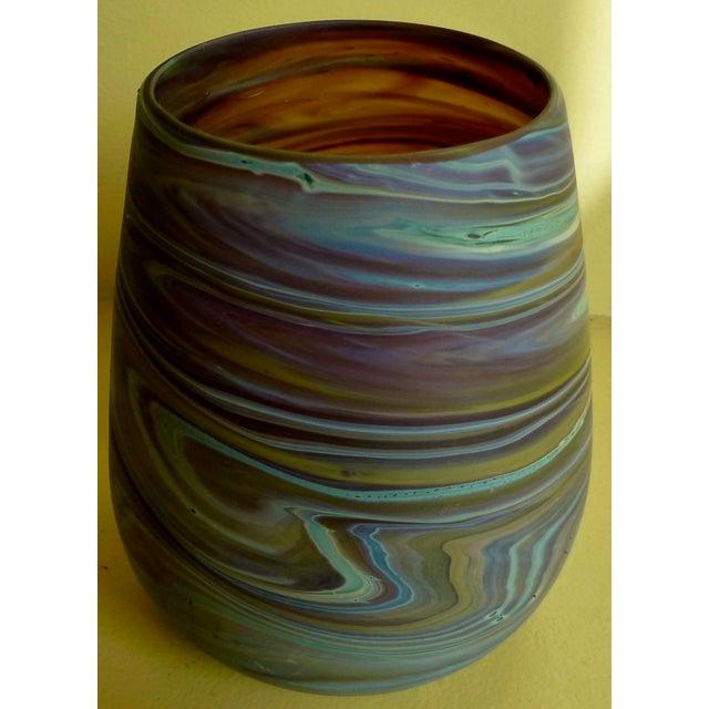 1960s Mid Century Studio Art Glass Vase For Sale - Image 5 of 13