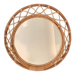 Vintage Scandinavian Wicker Rattan Round Wall Mirror For Sale