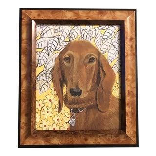 Contemporary Dachshund Dog Print by Judy Henn Vintage Frame For Sale
