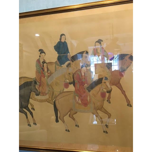 Large Chinese Painting on Silk, Women on Horseback For Sale In New York - Image 6 of 12