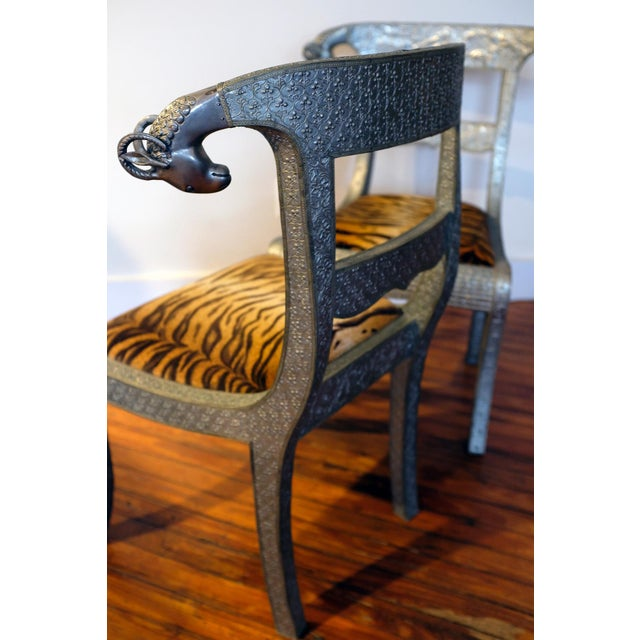 Antique Anglo-Indian Silvered Wrapped Wood Side Chairs - a Pair For Sale - Image 4 of 6