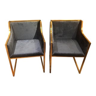 Blue Velvet 'Camden' Chairs - a Pair For Sale