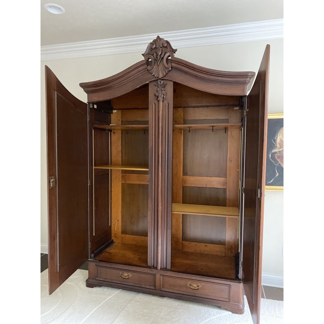 Mid 18th Century Antique French Wooden Wardrobe For Sale - Image 5 of 7