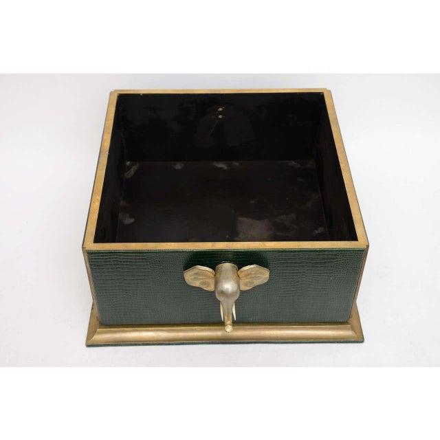 Animal Skin Ornamental Emblazoned Brass & Ivory Elephant Box For Sale - Image 7 of 8