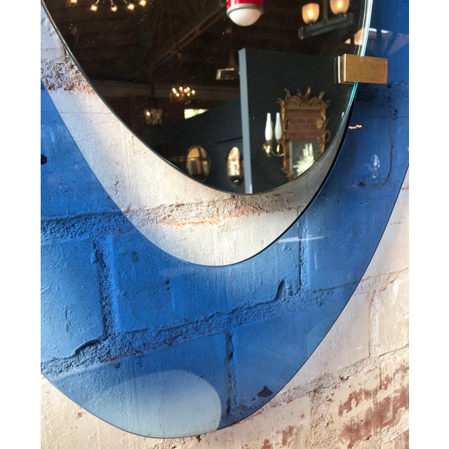Blue Fontana Arte Rare Light Blue Sculptural Wall Mirror by Max Ingrand, Italy, 1958 For Sale - Image 8 of 9