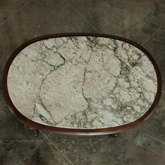 19th Century French Louis XVI Marble Top Oval End Table For Sale - Image 10 of 12