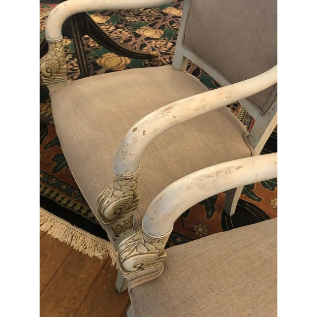 Pair of French Painted and Upholstered Dolphin Armchairs For Sale - Image 12 of 13