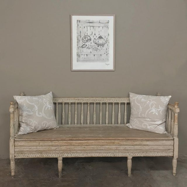 18th Century Swedish Gustavian Period Day Bed ~ Hall Bench ca. 1790 features tailored, neoclassical lines that are...