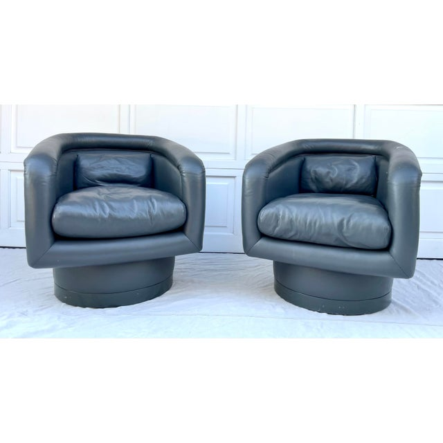 Postmodern Leon Rosen Style Swivel Tub Chairs - a Pair For Sale - Image 13 of 13