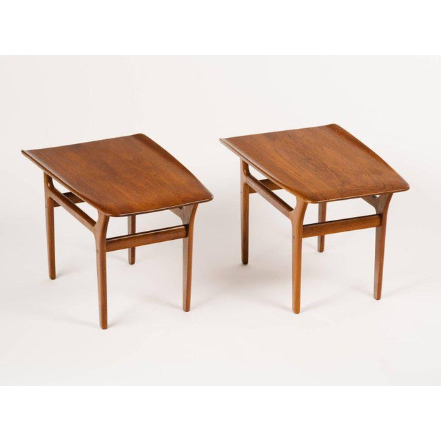 1960s Pair of Danish Mid Century Modern Teak Side Tables For Sale - Image 5 of 13
