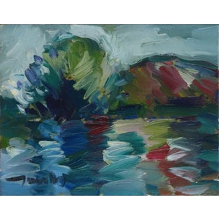 Contemporary Expressionist Style Lake Landscape Oil Painting by Jose Trujillo For Sale