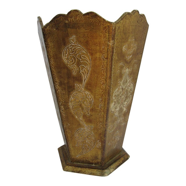 Gold Florentina Wood Wastebasket For Sale