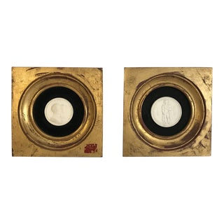 A Neoclassical Grand Tour Collection Cameos in Gilded Frames - a Pair For Sale