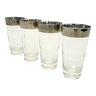 Mid-Century Modern Dorthy Thorpe Silver Rimmed High Ball Glasses - Set of 4 For Sale