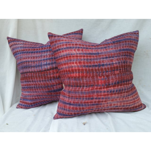 Burmese Hand Batiked Linen Pillows - Image 2 of 5